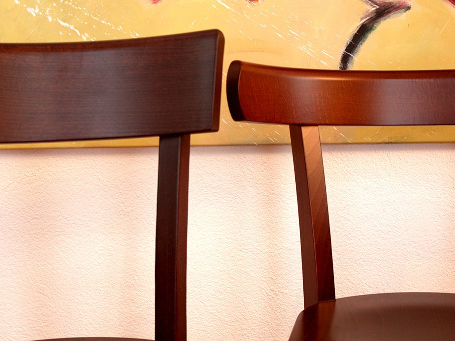 from left to right: dark brown stained, like walnut and stained brown, like medium brown